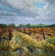 Vineyard Landscape Originals - Vermilion Vineyard by Denise Ivey Telep