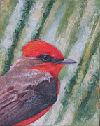Flycatcher Painting Originals - Vermillion Flycatcher by Judith Zur