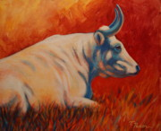 Abstract Bull Painting Posters - Vermillion Sunrise Poster by Theresa Paden