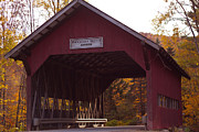 Foliage Photographs Prints - Vermont Covered Bridge Print by Robert  Torkomian