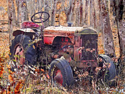 Machinery Digital Art Posters - Vermont Farm Antique Tractor  Poster by Nadine and Bob Johnston