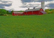 Red Barn. New England Digital Art Prints - Vermont Farmland 1 Print by Steve Ohlsen