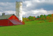 Red Barn. New England Digital Art Prints - Vermont Farmland 2 Print by Steve Ohlsen