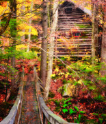 Log Cabin Art Framed Prints - Vermont Hideout - Footbridge Over Roaring Brook Framed Print by Thomas Schoeller