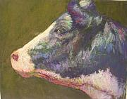 Farm Animals Pastels Prints - Vermont Holstein Print by Susan Williamson
