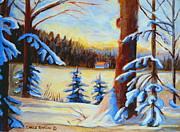 Vermont Log Cabin Maple Syrup Time Print by Carole Spandau