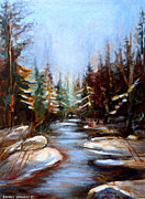 Winter Scenes Rural Scenes Prints - Vermont Stream Print by Carole Spandau