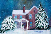 New England Snow Scene Painting Framed Prints - Vermont Studio Center in Winter Framed Print by Donna Walsh