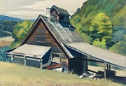 England Framed Prints - Vermont Sugar House Framed Print by Edward Hopper