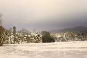 Winter Night Prints - Vermont Village On Ice Print by Nathan Larson