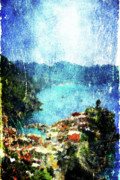 Mediterranean Landscape Digital Art Framed Prints - Vernazza Framed Print by Andrea Barbieri