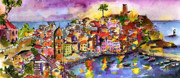 Cinque Terre Paintings - Vernazza at Night by Ginette Fine Art LLC Ginette Callaway