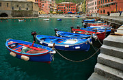 Port Town Posters - Vernazza Boats Poster by Inge Johnsson