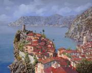 Red Prints - Vernazza-Cinque Terre Print by Guido Borelli