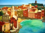 Landscape Mixed Media Framed Prints - Vernazza - Cinque Terre - Italy Framed Print by Dan Haraga