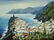 Blue Sea Paintings - Vernazza Cinque Terre Italy by Marilyn Dunlap