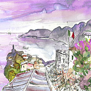 Townscape Drawings Framed Prints - Vernazza in Italy 03 Framed Print by Miki De Goodaboom