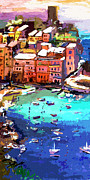 Cinque Terre Paintings - Vernazza Italy Cinque Terre Seaside  by Ginette Fine Art LLC Ginette Callaway
