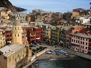 Italian Culture Prints - Vernazza View Print by Andrew Soundarajan