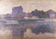 Reflections In River Prints - Vernon Church in Fog Print by Claude Monet