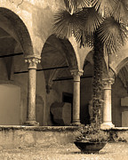 Archways Posters - Verona Courtyard I in Sepia Poster by Greg Matchick