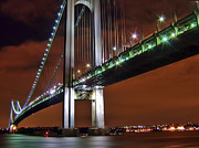 Staten Island Framed Prints - Verrazano Bridge Framed Print by Evelina Kremsdorf