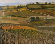 Autumn Vineyards Paintings - Vers le Pouget by Peter Maher