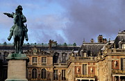 Sami Sarkis Posters - Versailles Palaces courtyard with King Louis 14th statue Poster by Sami Sarkis