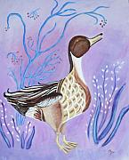 Belinda Lawson Metal Prints - Version of a Pintail Metal Print by Belinda Lawson