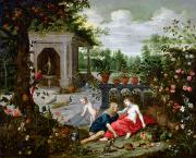 Parrot Painting Metal Prints - Vertumnus and Pomona Metal Print by Hendrik van the Elder Balen