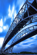 Port Huron Digital Art Posters - Very Blue Water Bridge  Poster by Gordon Dean II