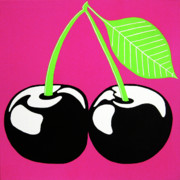 Multi-coloured Metal Prints - Very Cherry Metal Print by Oliver Johnston