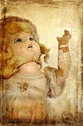 Doll Photos - Very Old Doll with Cracked Face Looking Up by Jill Battaglia
