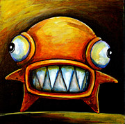 Monsters Painting Posters - Very Scarey Glob Poster by Leanne Wilkes