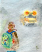 School Bus Print Posters - Very Very Very Foggy Day Poster by Yoshiko Mishina