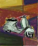 Scooter Posters - Vespa in Cubist Land Poster by Russell Pierce