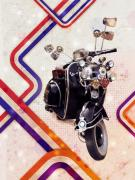 Culture Digital Art Prints - Vespa Mod Scooter Print by Michael Tompsett