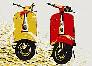 Yellow Digital Art Prints - Vespa Scooter Pop Art Print by Michael Tompsett