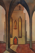 Church Pillars Painting Framed Prints - Vespers Framed Print by Johanna Axelrod