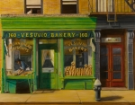 City Buildings Painting Framed Prints - Vesuvio Bakery in New York City Framed Print by Christopher Oakley