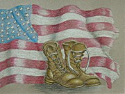 American Flag Pastels Posters - Veteran Day Poster by Thuraya R