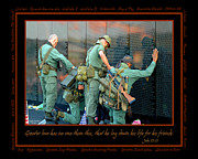 Marines Posters - Veterans at Vietnam Wall Poster by Carolyn Marshall