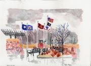 Veteran's Memorial Park Print by Rodger Ellingson
