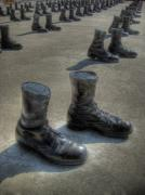 Boots Posters - Veterans Memorial Walk Poster by Jane Linders