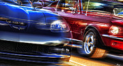 Speed Digital Art Originals - Vette vs Stang by Gordon Dean II
