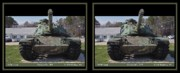 Vfw Posters - VFW Tank - Gently cross your eyes and focus on the middle image Poster by Brian Wallace