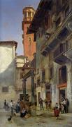 Balcony Painting Framed Prints - Via Mazzanti in Verona Framed Print by Jacques Carabain