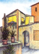 Tourism Drawings Prints - Via Roma Print by Pamela Allegretto
