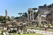 Old Ruin Metal Prints - Via Sacra. Roman Forum. Rome Metal Print by Bernard Jaubert