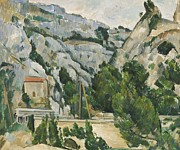 Azur Painting Prints - Viaduct at lEstaque Print by Paul Cezanne